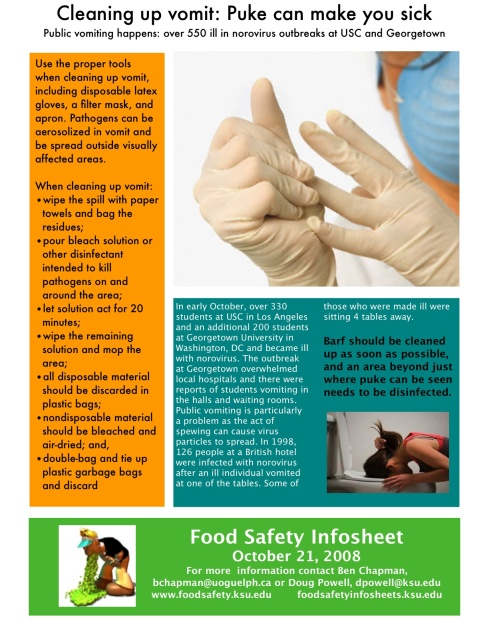 How To Clean Up Vomit >> Cleaning Up Vomit Puke Can Make You Sick Food Safety Info