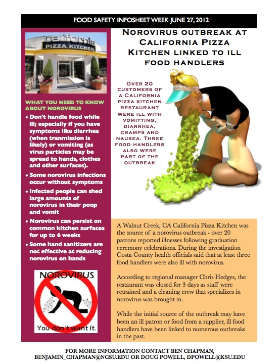 Food ...  sc 1 st  Food Safety Info Sheets & Norovirus outbreak at California Pizza Kitchen linked to ill food ...